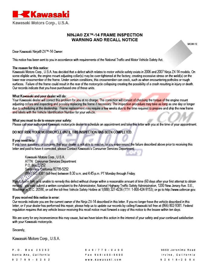 Zx14 zzr1400 recall recall letter thecheapjerseys Choice Image